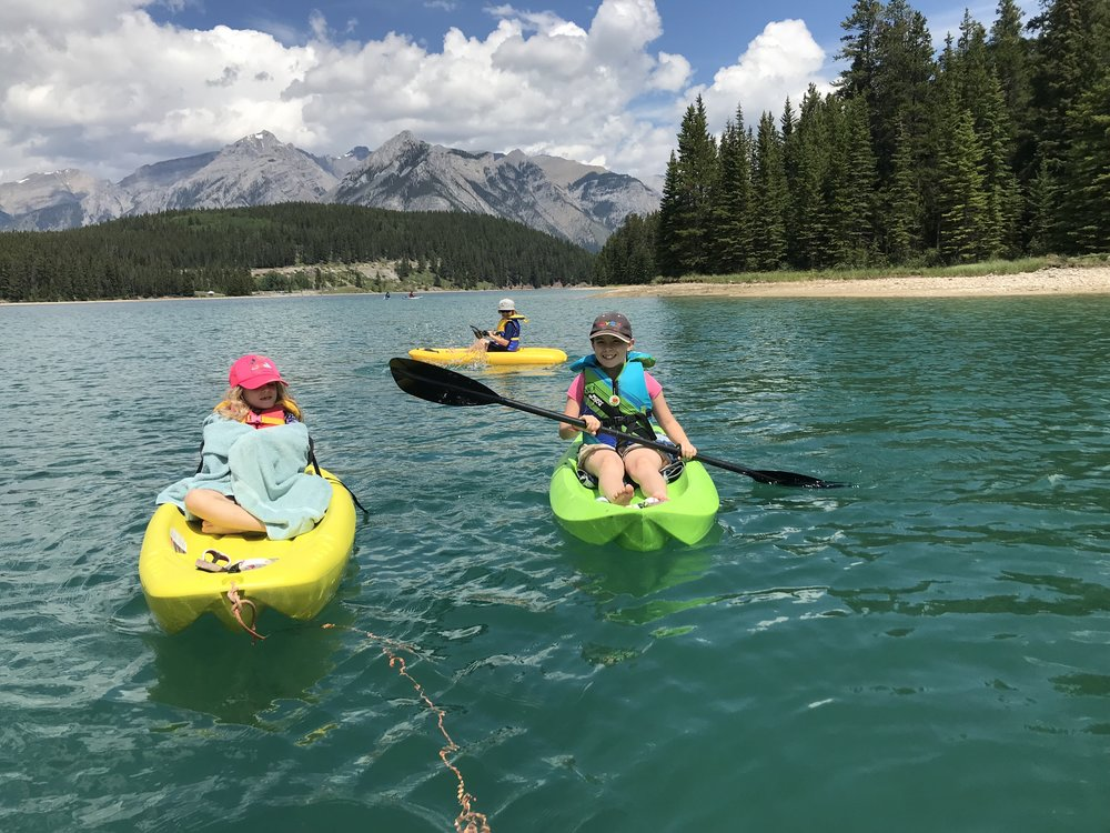 Paddling on Two Jack Lake, Banff National Park, Alberta.