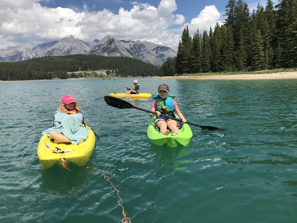 Paddling on Two Jack Lake, Banff National Park, Alberta.