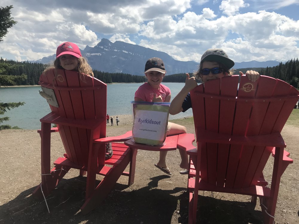 #getkidsout Ambassadors Ellie, Sophie, and Ben, before their first bag drop in Banff National Park.