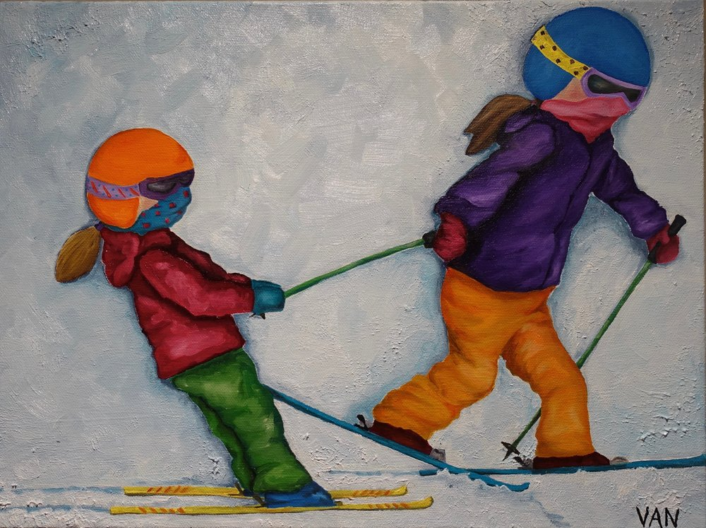 "The Tow - Oil on CanvasMy latest piece titled ""The Tow,"" is inspired by our times skiing in Fernie. I have seen this play out so many times…a ""Little"" without poles getting towed by an older sibling or friend. It truly warms my heart even on the coldest of days. (2018, Oil on Canvas)"