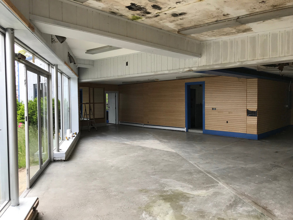 View of showroom with white divider removed
