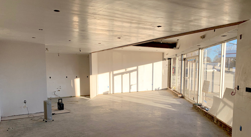 Plaster is complete in gallery space