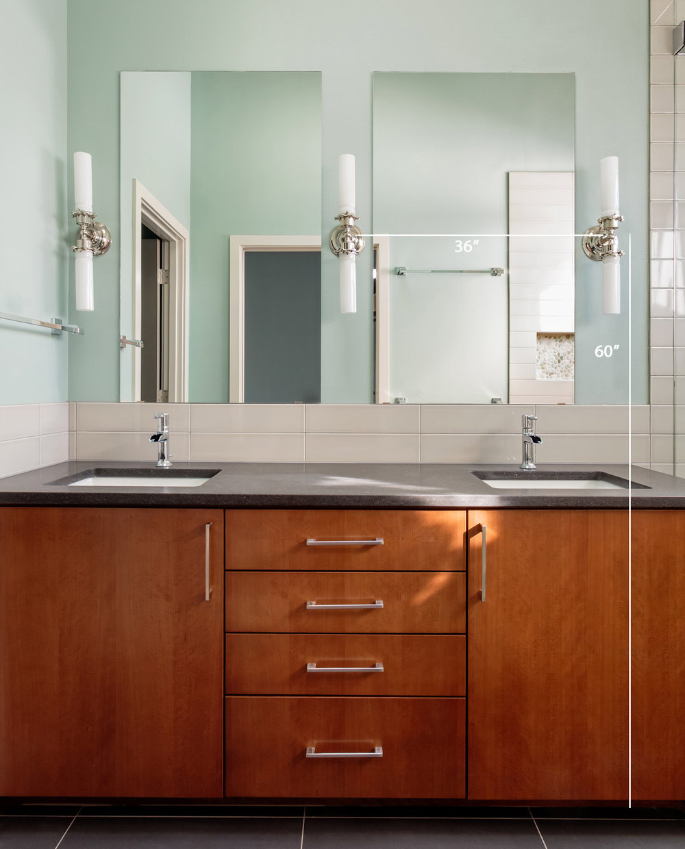 Bathroom sconces distance from floor