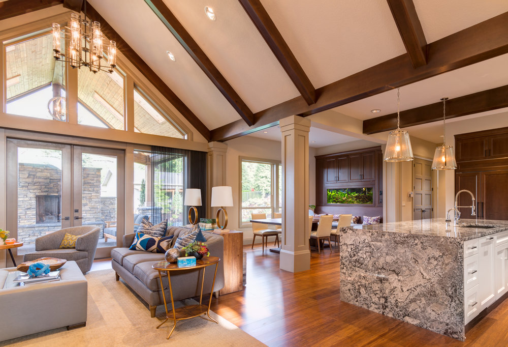 Lighting a space with a vaulted ceiling light my nest for Half vaulted ceiling with beams