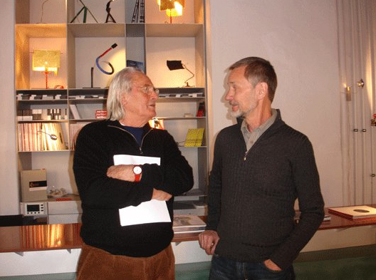 Ingo Maurer and Joachim Birn in the Ingo Maurer showroom, Munich