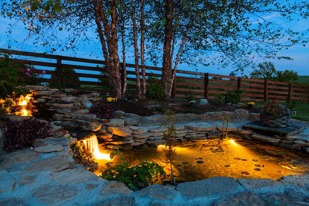 pond lighting adds charm