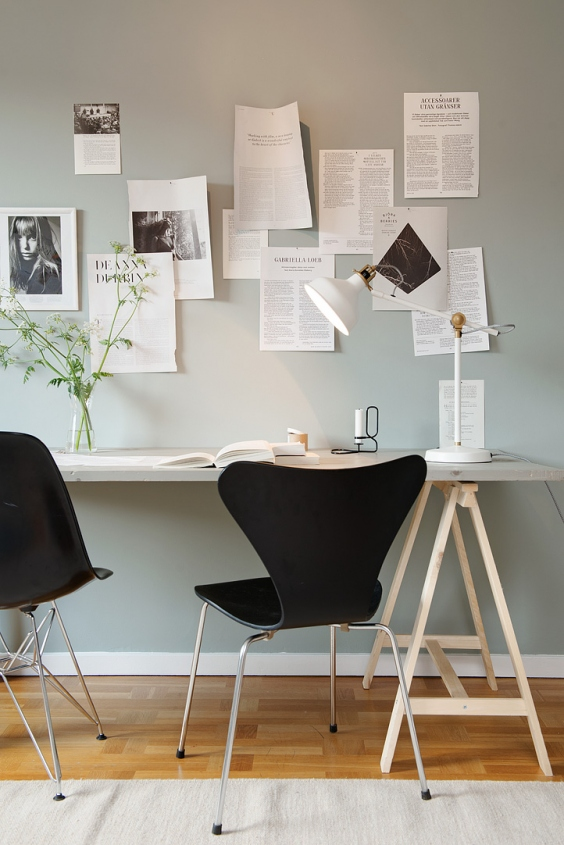 Tiny home office space via Alvhem