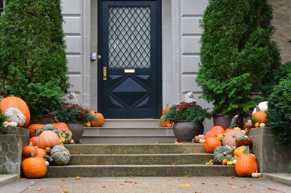 Festive fall decor with pumpkins