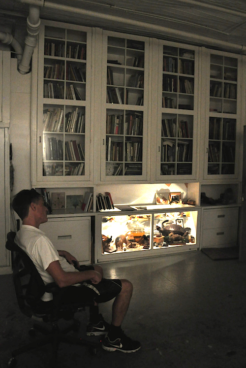Alexis Rockman at his studio with his cabinet of curiosities, Photo Kiša Lala