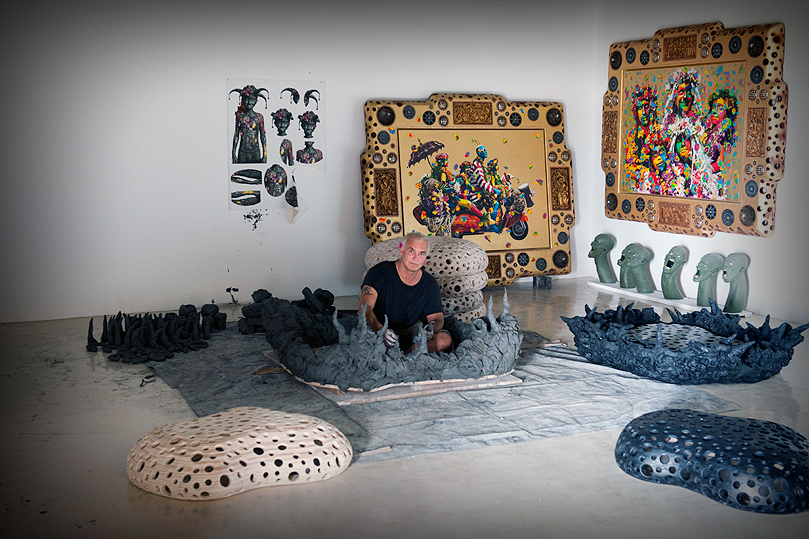 Ashley Bickerton photographed at his studio in Bali by Bobby Fisher, 2011