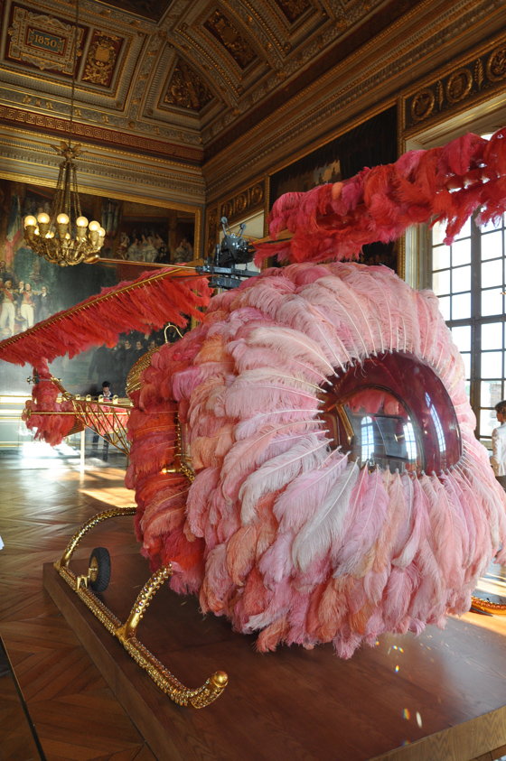 If Marie Antoinette had personal transportation this would be it in the 21st century…   Lilicoptère , 2012: Bell 47 helicopter, ostrich feathers, Swarovski crystals, gold leaf,  leather upholstery embossed with fine gold, Arraiolos rugs, and passementerie 3 x 2.74 x 12.65m