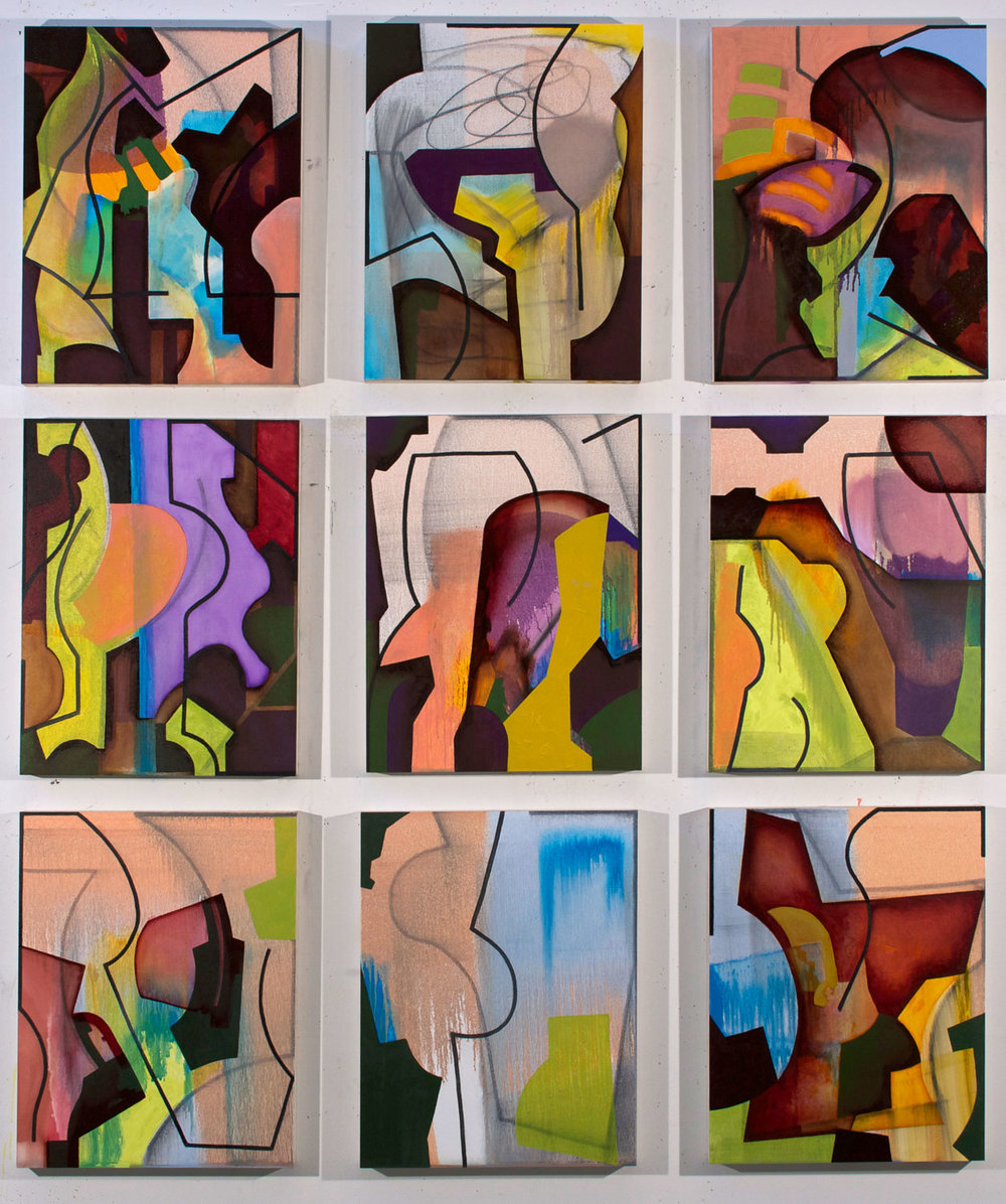 9 panels 20x16 each, oil and charcoal
