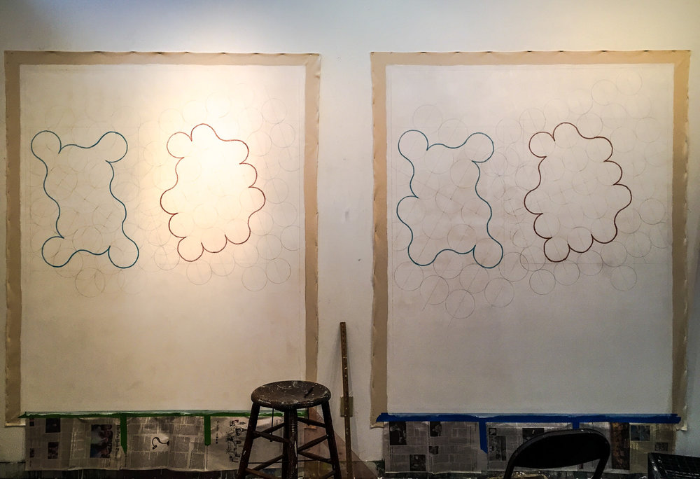 The  After Agnes Martin  series in process in the studio.