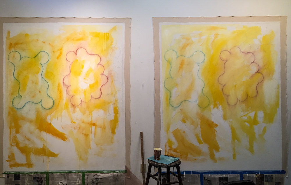 The  Agnes Martin  series in process in the studio.