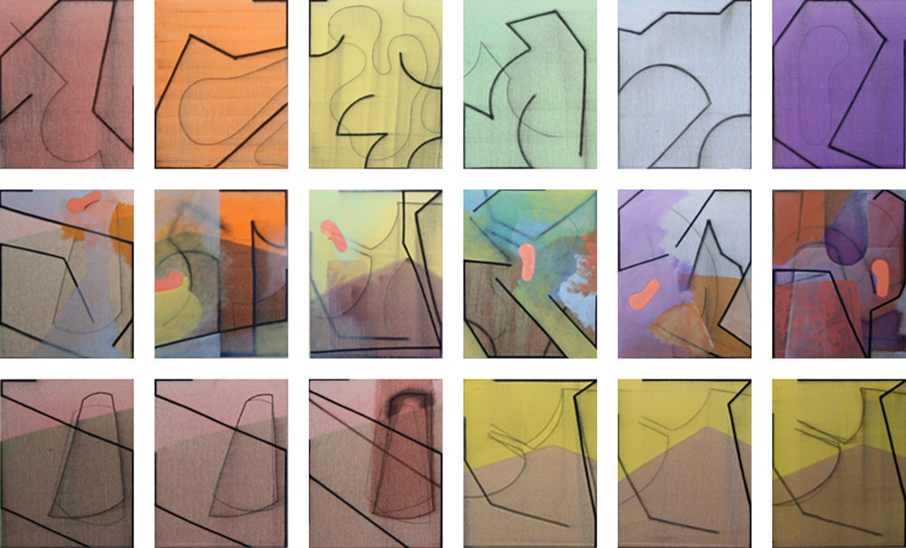 Progress ? , 18 panels. Oil and charcoal on panel, 20 x 16 each. November 2011