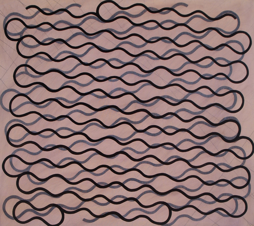 "Single Thick Line, Rubbed Thick Line, 2004, oil on canvas, 34"" x 38"""