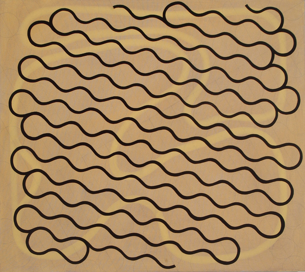 "Gestural Line, Single Thick Line, 2004, oil on canvas, 34"" x 38"""