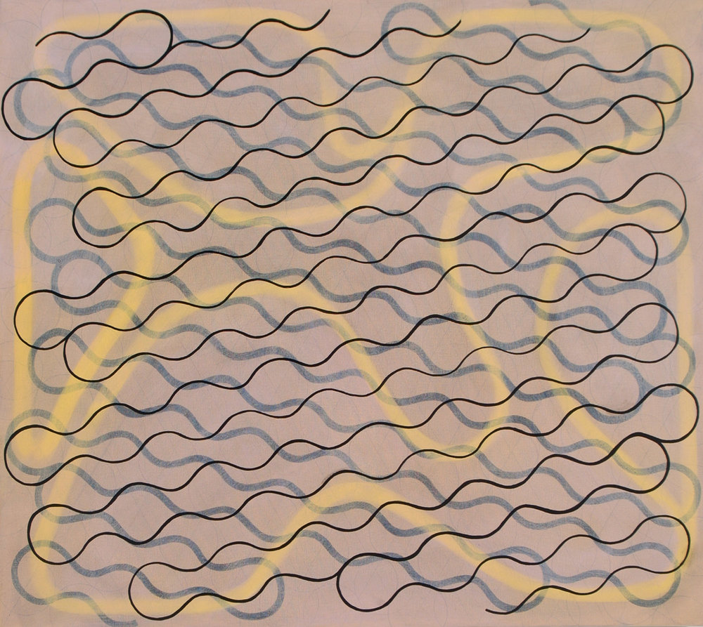 "Gestural Line, Single Thick Line, Single Sharp Line, 2004, oil on canvas, 34"" x 38"""