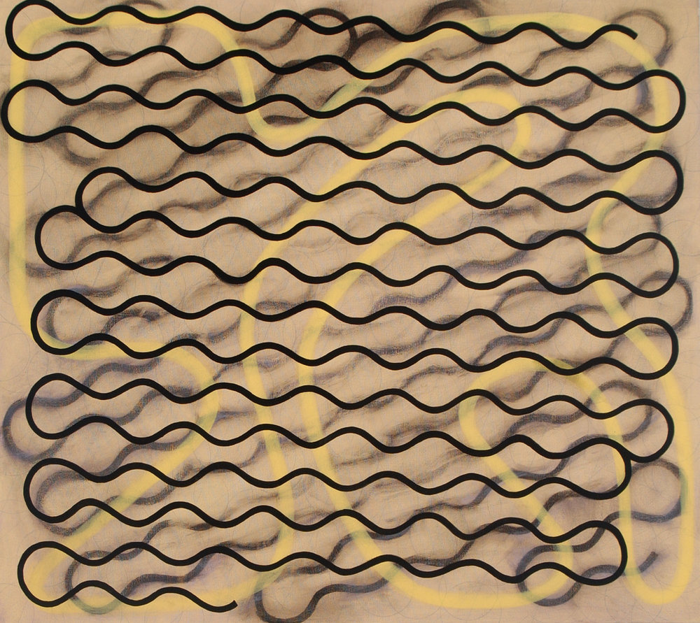 "Gestural Line, Single Thick Line, Rubbed Thick Line, 2004, oil on canvas, 34"" x 38"""