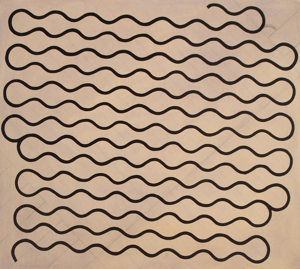 "Single Thick Line, 2004, oil on canvas, 34"" x 38"""