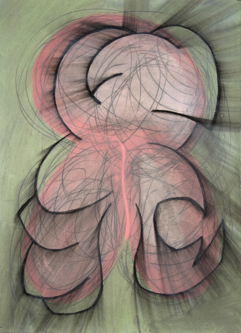 "untitled, 2005, 30"" x 22"", accrylic and charcoal on paper"