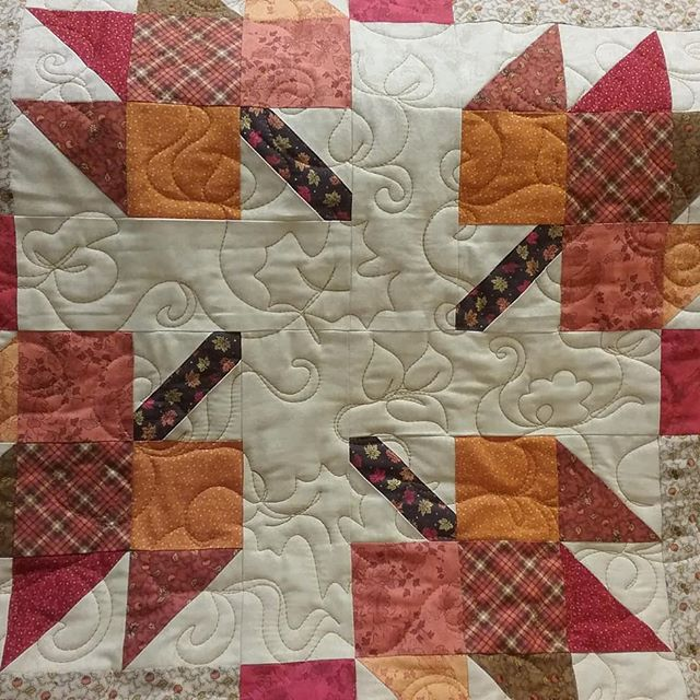 This fall quilt warms me inside and makes me reflect how really talented all my customers are. Thanks, Maddy, for such a glowing quilt.