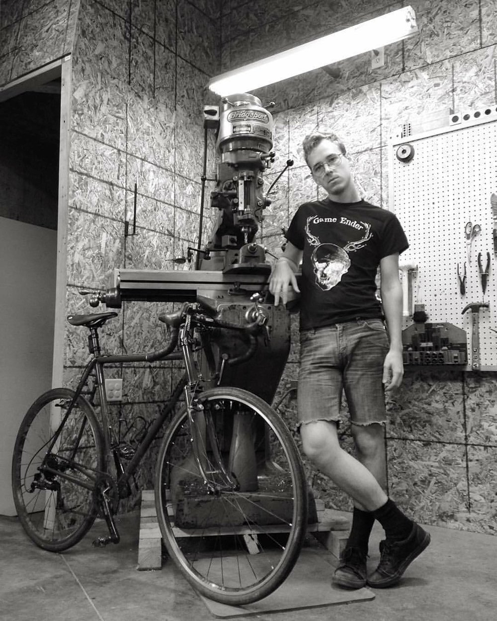 "WITH MY BRIDGEPORT AND MY BIKE ""DEEP GRAVY"" IN SUMMER 2015. (PHOTO BY JOE LIBRANDI-COWAN)"