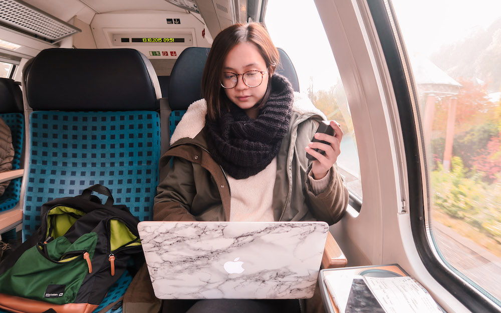 traveling by train - it's my quick break in between traveling, to just sit and admire the beauty, do some work or read a book.