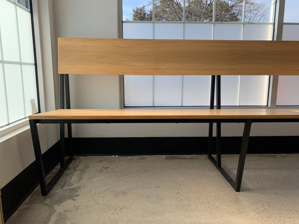 commercial modern bench made with wood and steel