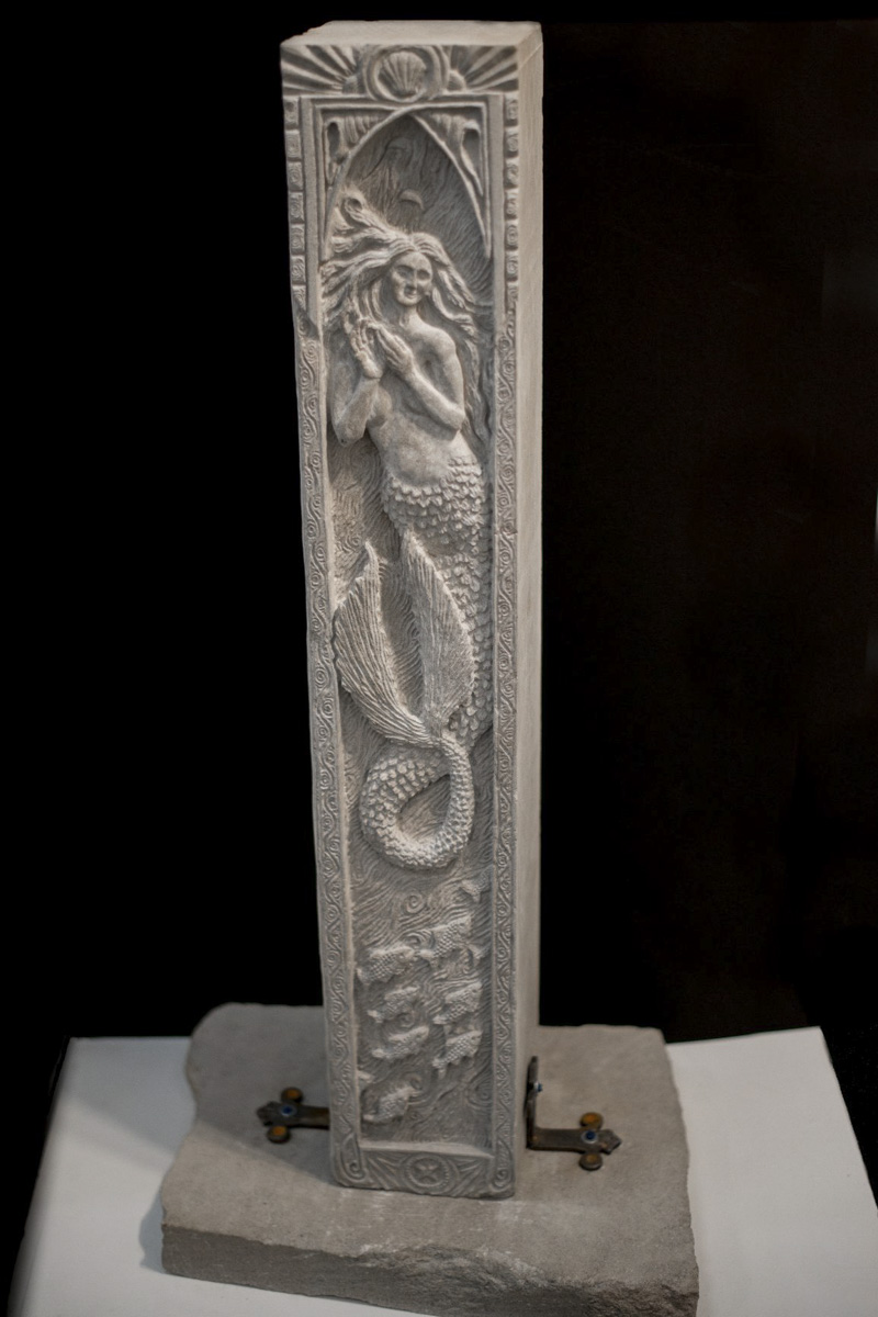 Mermaid stone carving by Sidney Bolam of Bohemian Hobbit Studio