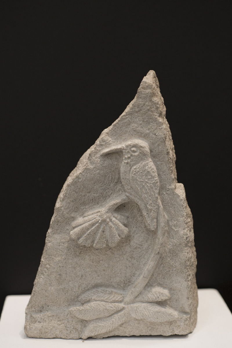 Hummingbird stone carving by Sidney Bolam of Bohemian Hobbit Studio