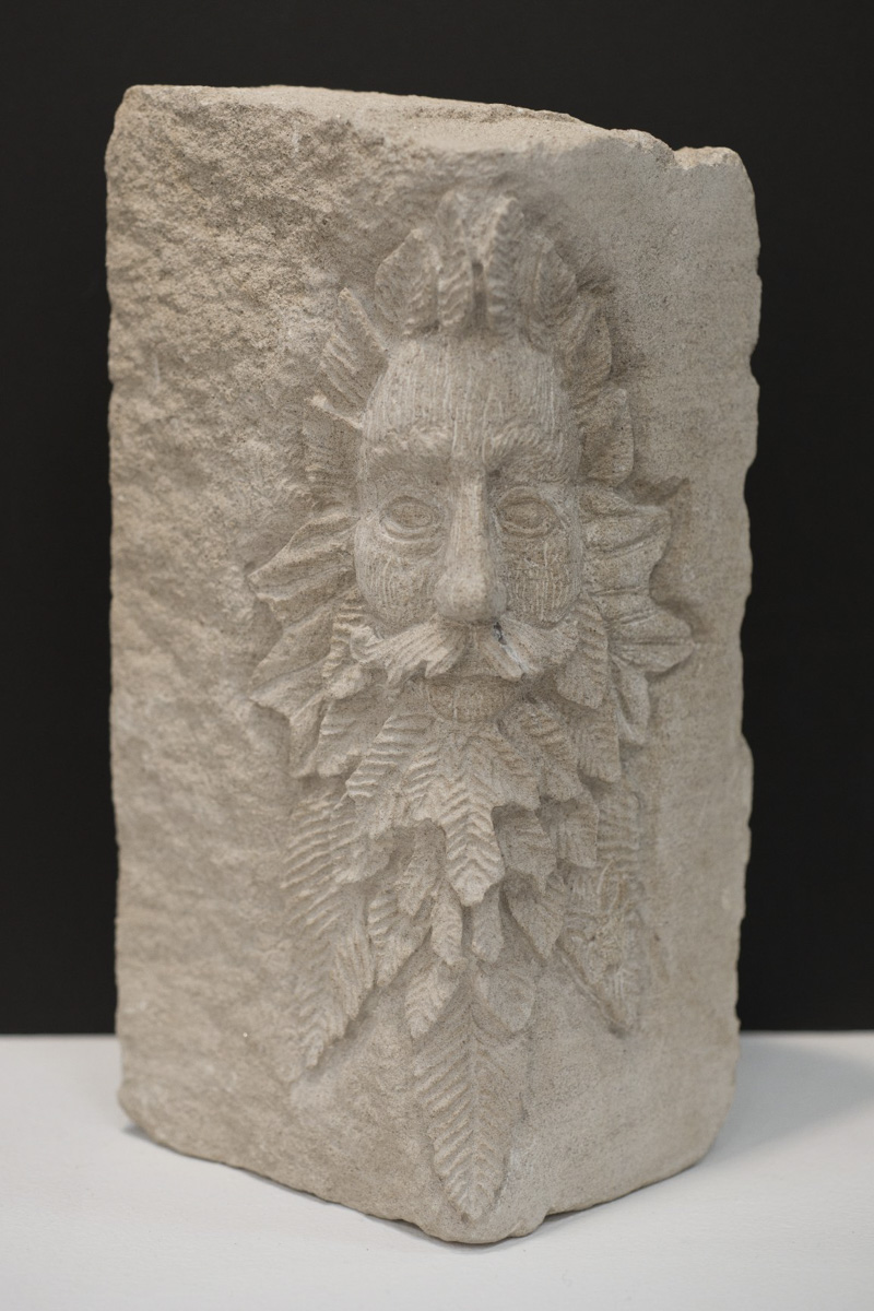 Green man stone carving by Sidney Bolam of Bohemian Hobbit Studio