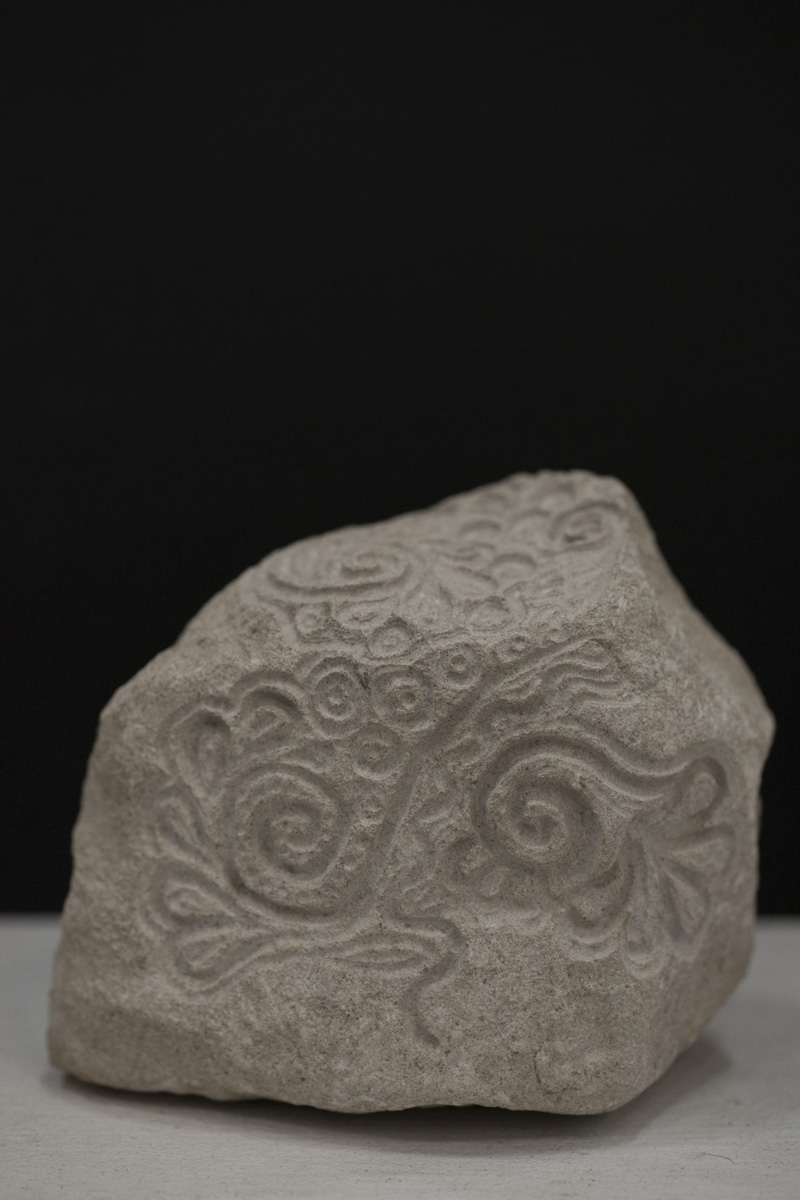 Abstract floral stone carving by Sidney Bolam of Bohemian Hobbit Studio