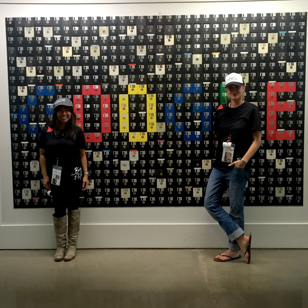 Admiring the floppy disk art at Google