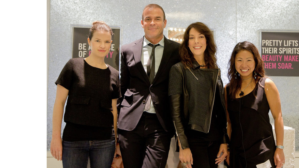 BARE ESCENTUALS - Director Izzy Chan (far right) and The Big Flip's Design & Innovation Lead, Jessica Gates (far left) with the CEO and Chairwoman of Bare Escentuals, Simon Cowell and Leslie Blodgett.