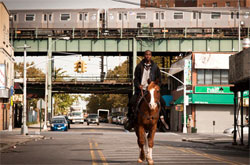 a guy riding a horse in an urban place