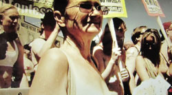 opal dockery at a pro-women's nudity protest