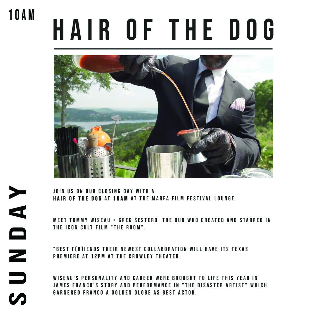 10AM SPECIAL EVENT : HAIR OF THE DOG - SUNDAY JULY 15TH • 10AM | MARFA GOLF COURSE