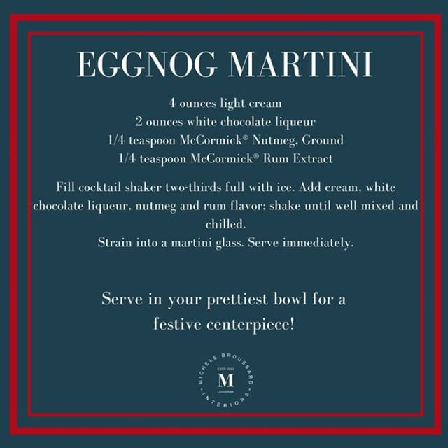 This yummy eggnog martini recipe will be a hit at your New Years Eve party!  And you can try it before the big night too! 💁🏻‍♀️ #michelebroussardinteriors #trendyyettimeless
