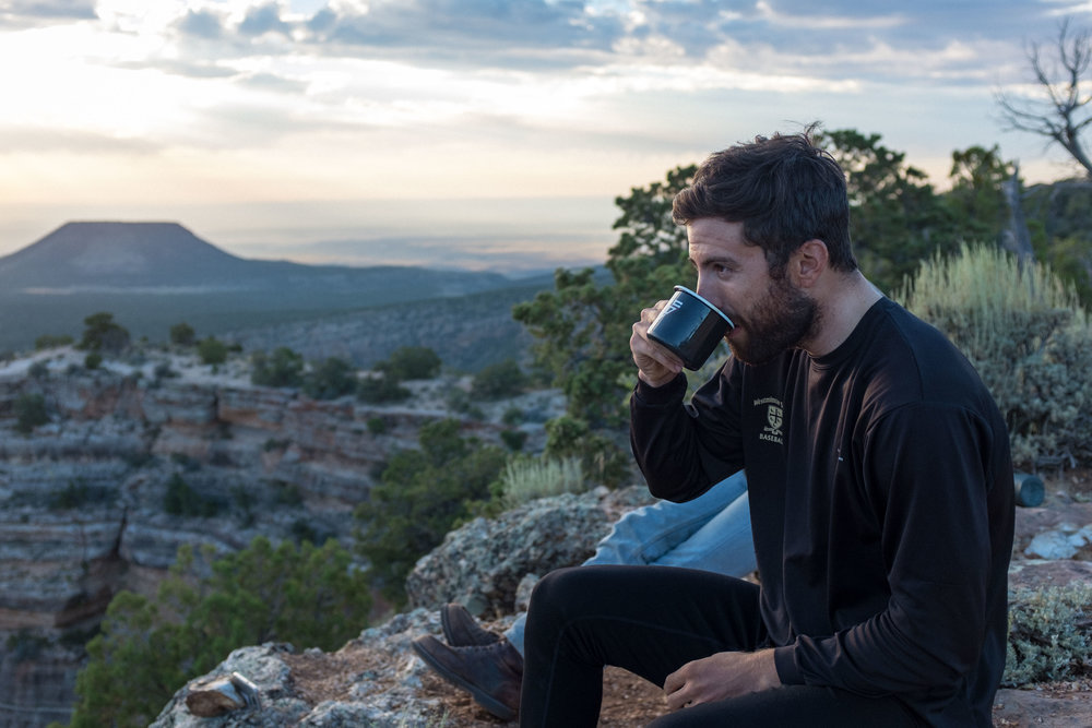 Chris and I were up before the sun to grab a secluded spot on the rim and have some coffee with our site-mates.