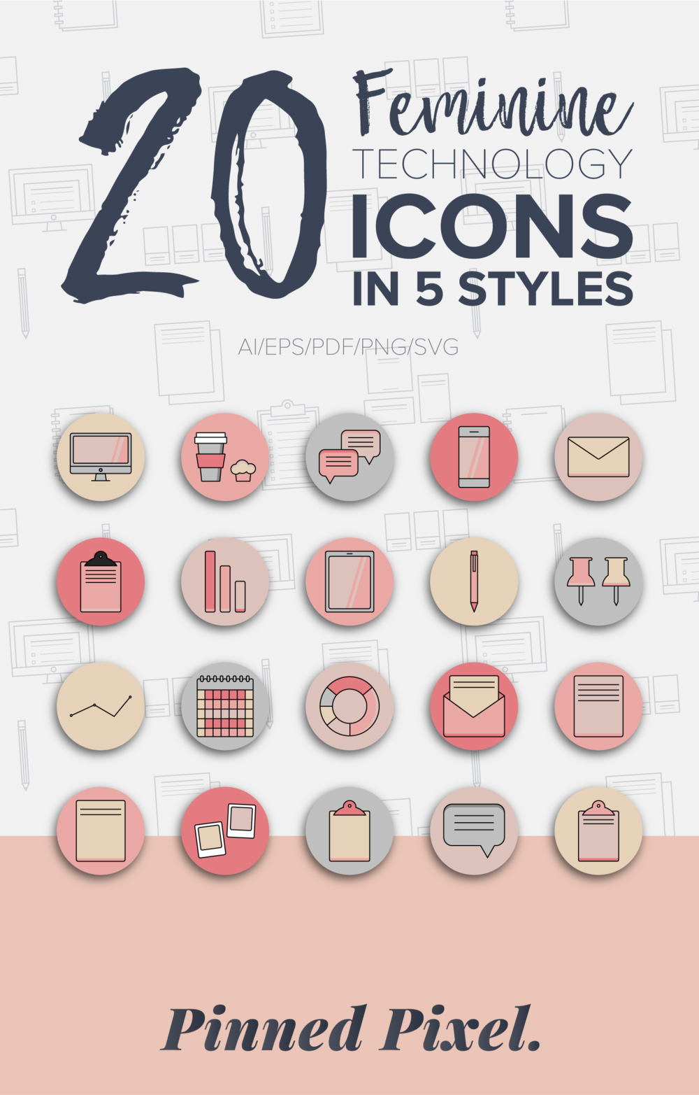 Feminine Technology Icons - Pinned Pixel