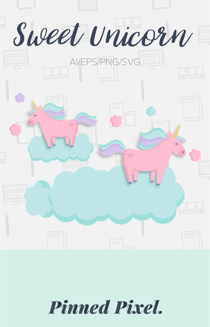 Sweet Unicorn Illustrations by Pinned Pixel