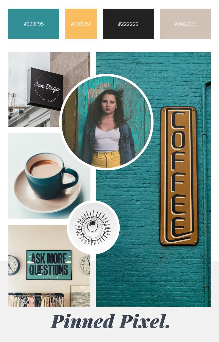 Coffee & Hustle Mood Board / Pinned Pixel
