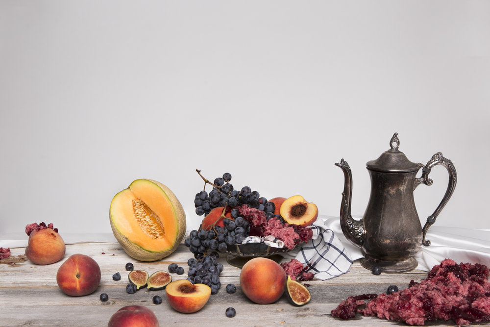 """Still Life with Fruit and Rotten Meat, 20x30"""", digital print, 2018"""