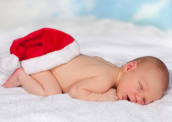 Newborn baby with santa hat