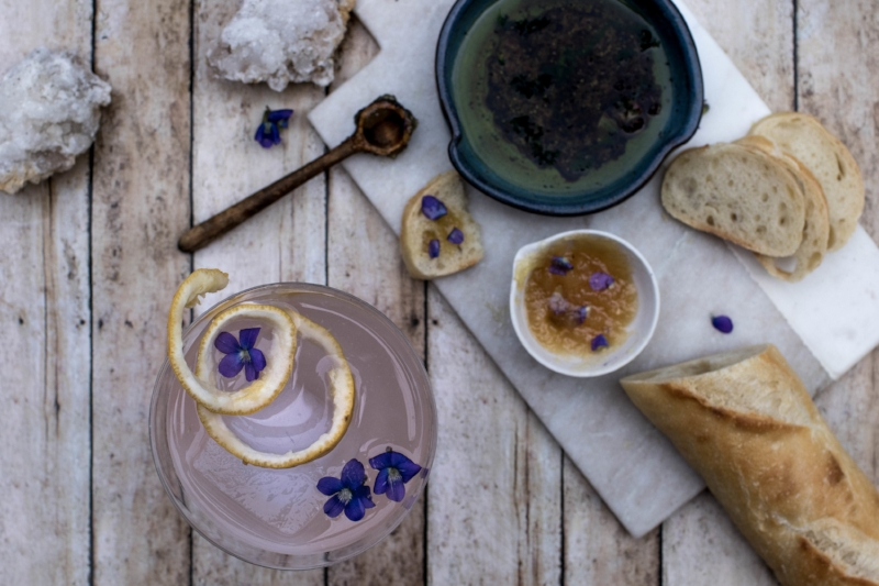 Violet lemonade and munching on snacks. Violet ginger chutney and balsamic and oil for some bread dipping.  Photo by FreeDom Danielle Flowers