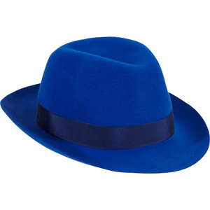 a7fb4e3cf4a29 Barbisio Felt Fedora Hat - Hats - ROYAL BLUE - Barbisio electric blue lapin  felt Fedora finished with navy grosgrain ribbon band and bow at brim.