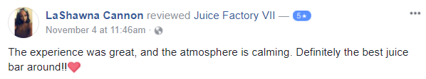 Great Review for Juice Factory VII in Troy, NY