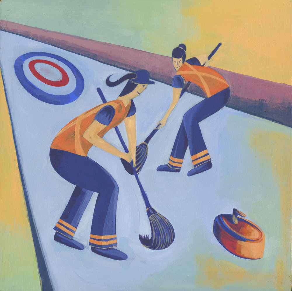 Sweep Sweep Sweep!   Two street sweepers play a sport, Curling.