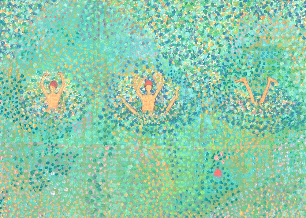 """Three Synchronized Swimmers of Summer"" - Acrylic, 5""x7""June 2017"